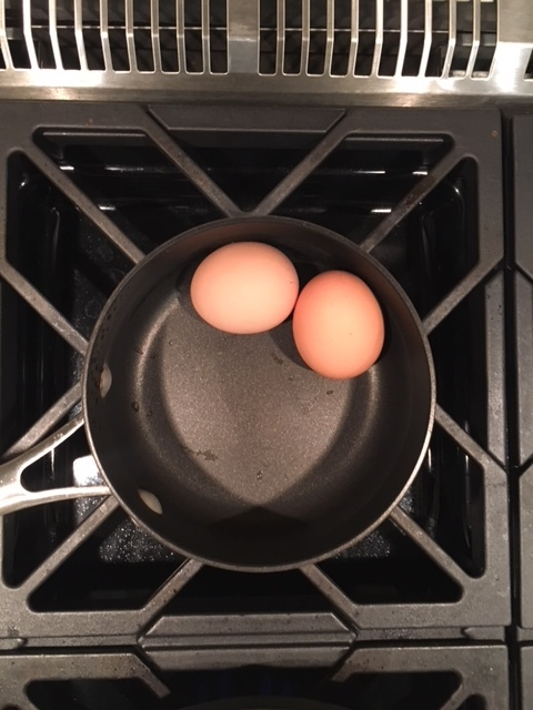 2 Hard Boiled Eggs - I normally add the water, then the eggs and high boil for 15 minutes
